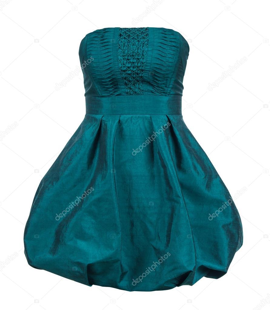 Evening gown of green silk taffeta strapless