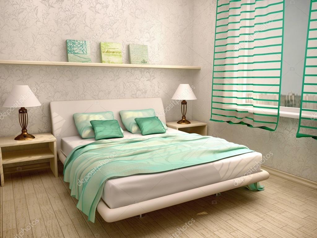 Camere Da Letto Turchese : Illustrazione d di interni camera da letto in un turchese chiaro
