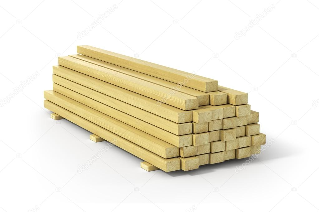 Wooden beams and planks. Construction material.