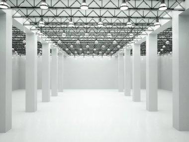 3d illustration of empty lit room