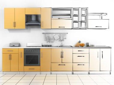 Abstract sketch design of interior kitchen. Wireframe render.