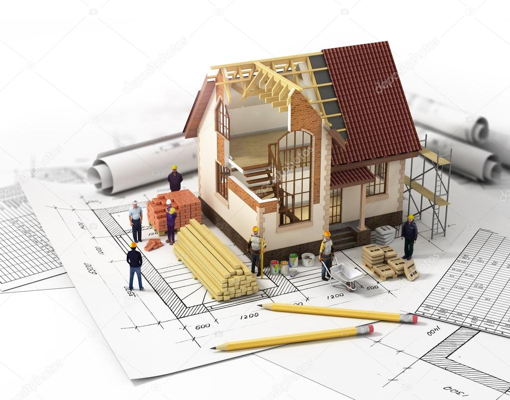 House with open interior on top of blueprints, documents and mor