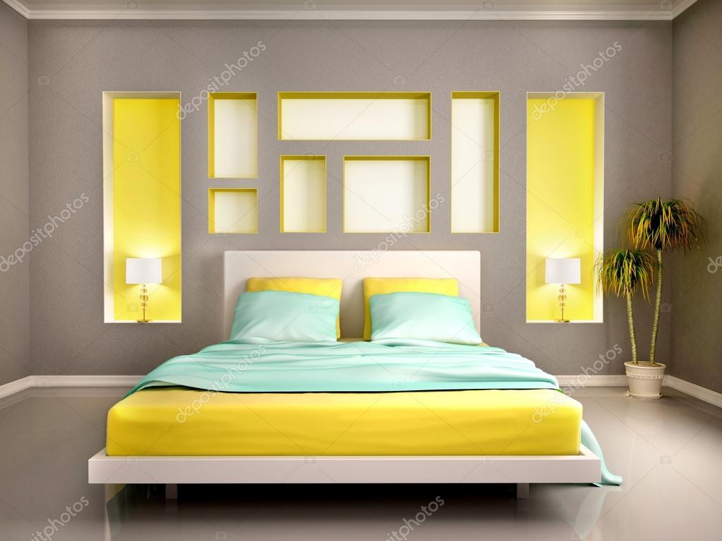 3D illustratie van moderne slaapkamer interieur met gele bed en n ...