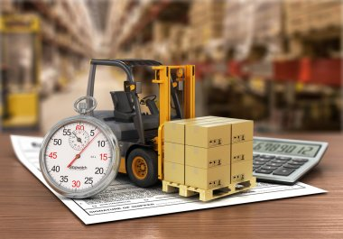 Forklift truck with boxes and stopwatch on the storage. Express