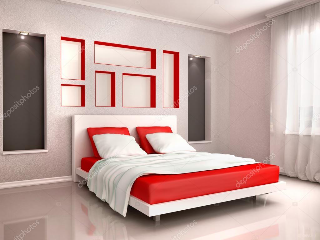Slaapkamer Rood Grijs : D illustratie van interieur van moderne slaapkamer in rood en