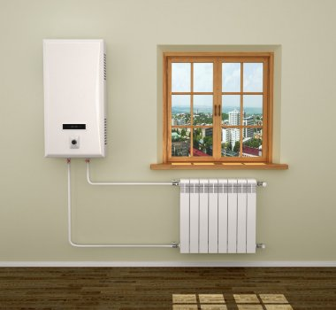 Boiler heating system in the room