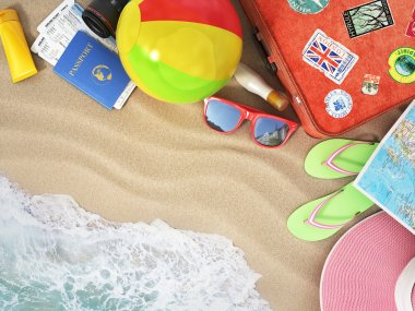 Travel concept. Sunbed, sunglasses, world map, beach shoes, suns