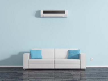 Air conditioning on the wall above the sofa cushions. stock vector