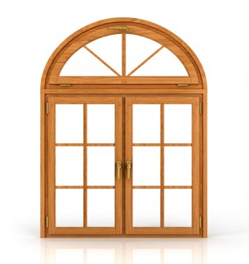 Arched wooden window isolated on white background.
