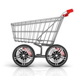 Photo Shopping cart with big car wheel on the white background. Fast s