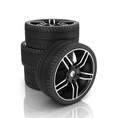 Tires and rims ,automobile wheels on a white background.