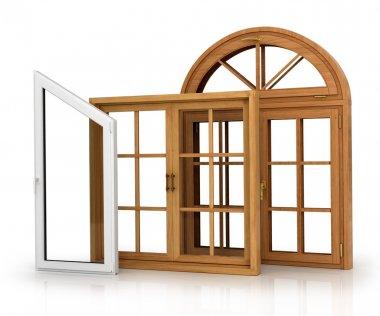 Set of three windows on the white background.
