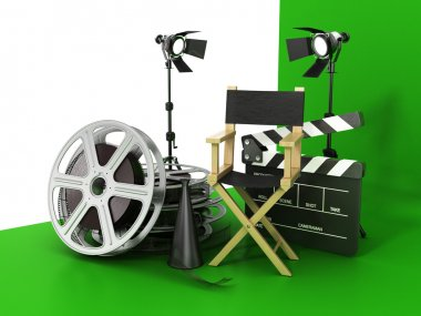 Video, movie, cinema concept. Light, film strip, reels, clapperb