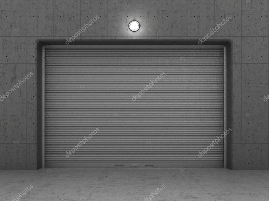 Garage Building Made Of Concrete With Roller Shutter Doors Stock