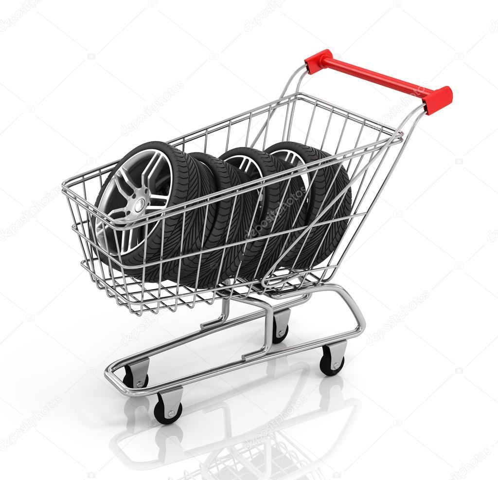 21806a4f0f7 Auto wielen en winkelwagentje. Het kopen van auto-onderdelen–  stockafbeelding