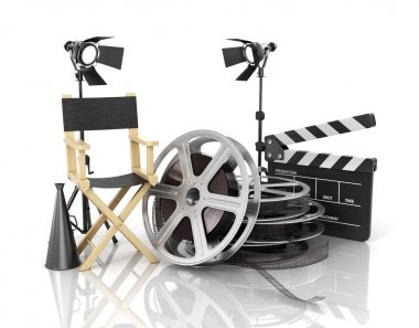 Video, movie, cinema concept. Light, film strip, reels, clapperb