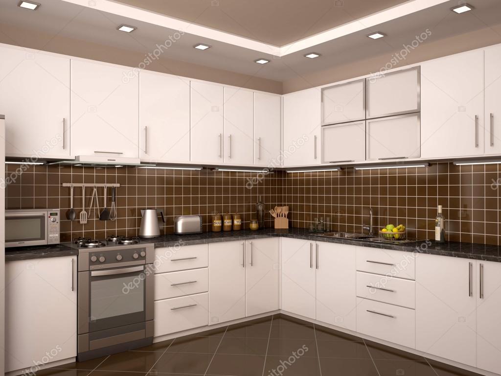 Interni Moderni Cucine : Illustrazione 3d di interni in stile moderno cucina u2014 foto stock