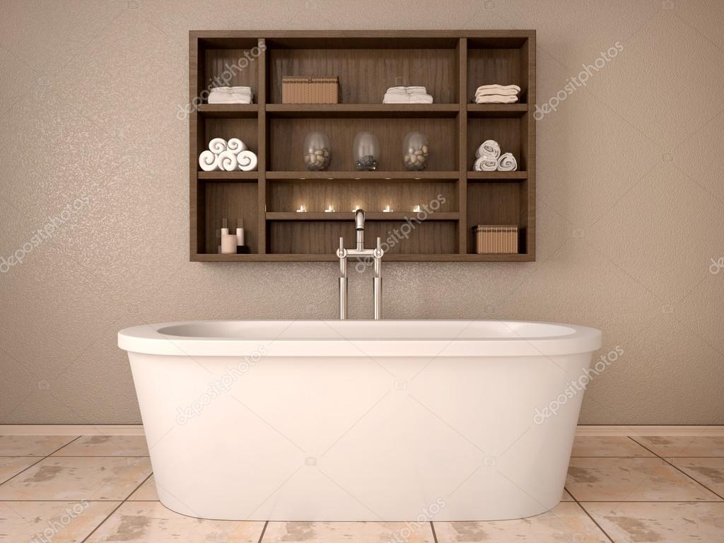 Ripiani In Legno Per Bagno : Illustrazione d di bagno moderno con ripiani in legno u foto