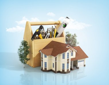 Concept of repair house. Repair and construction of the house. T