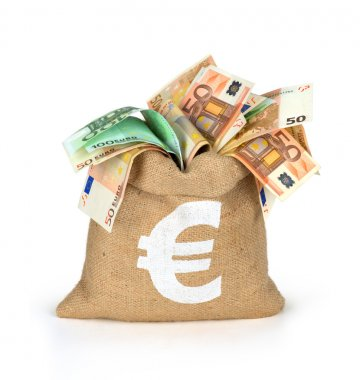 Bag of money with different euro bills