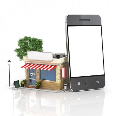 Concept of phone online store. Online store mobile flat design.