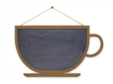 Wooden board menu in a cup on a white background.