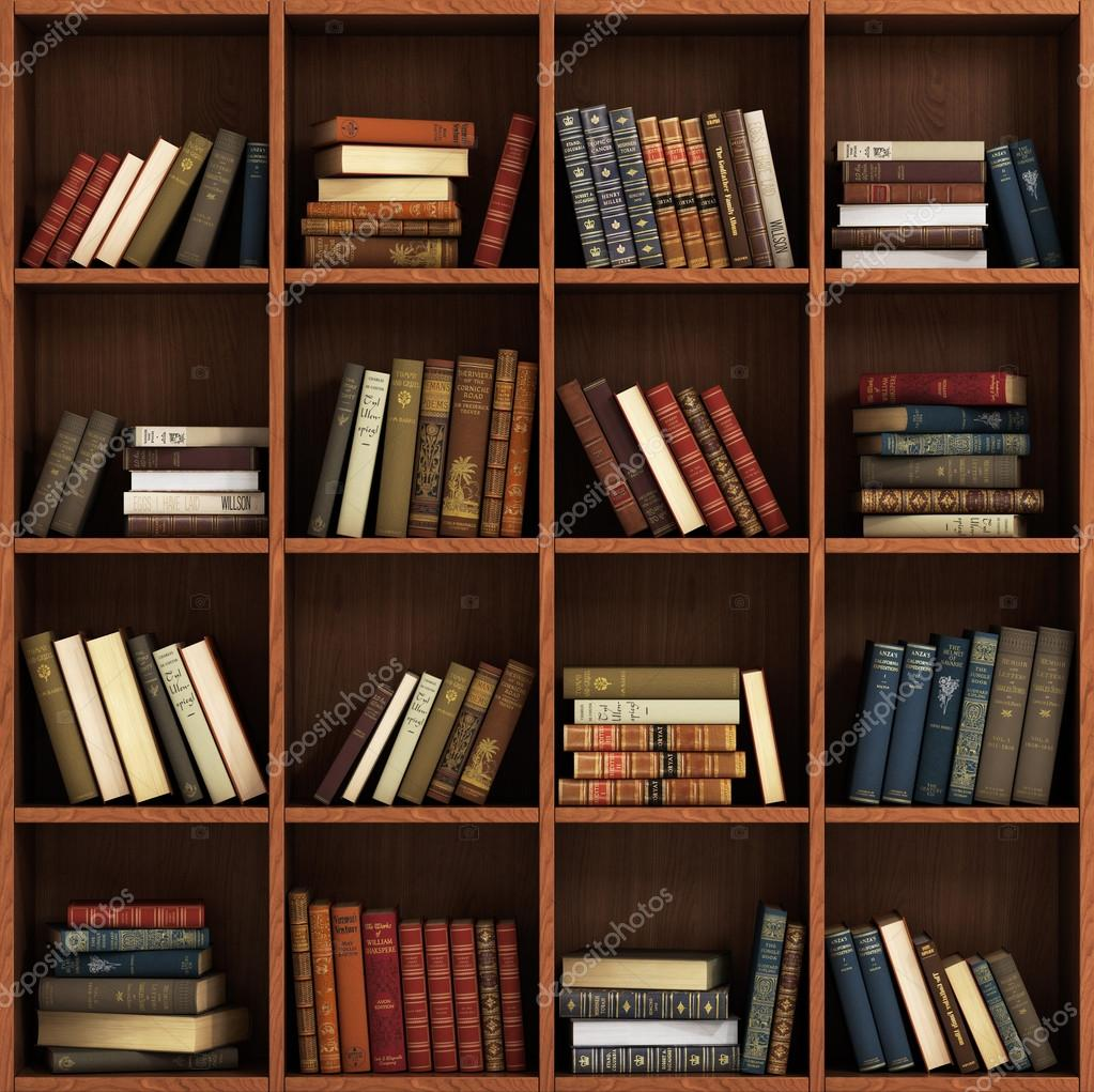 Library Bookshelf Full Of Books On The Wood Shelf Stock Photo