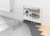 Fußbodenheizung mit Kollektor und Heizkörper im Zimmer. Conc