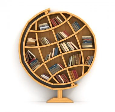 Concept of training. Wooden bookshelf in form of globe. Science