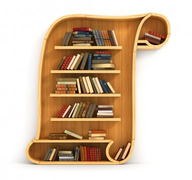 Concept of training. Wooden bookshelf in form of scroll. History