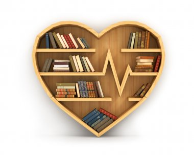 Concept of training. Wooden bookshelf in form of heart. Science
