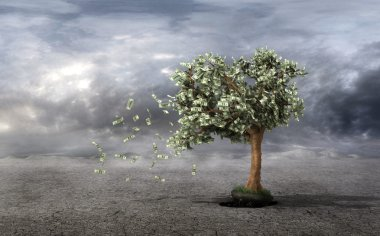 Concept of loss your money. Hand picks the money tree is taken f