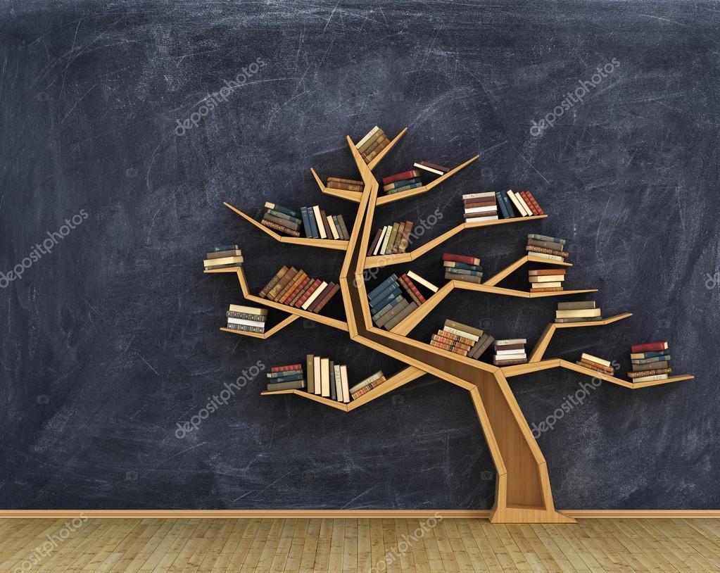 boekenkast vol boeken in de vorm van de boom op een whiteboard foto van urfingus