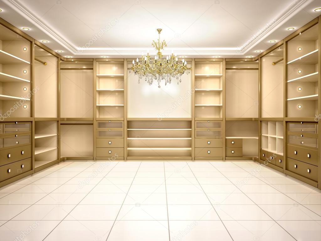 Klassieke Luxe Inloopkast : Illustratie van grote lege inloopkast in luxe huis u stockfoto
