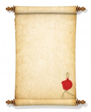 Scroll of old yellowed paper with a wax seal on a white backgrou