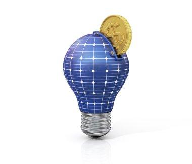 Concept of saving money on solar energy. Green energy. Moneybox