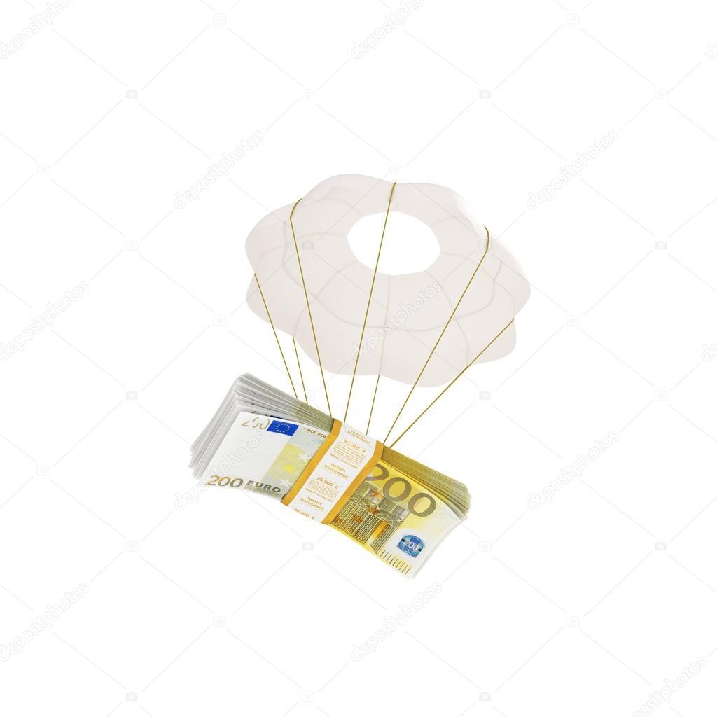 dinero volar en un paracaídas aislado en blanco — Foto de stock ...