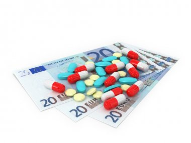 3 bills in denominations of 20 euros which pills scattered on a