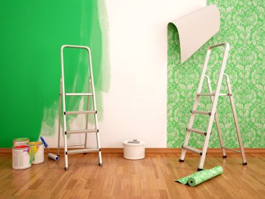 3d illustration of Painting wall and wallpapering green color