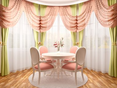 3d illustration of dining in a romantic style in the bay area