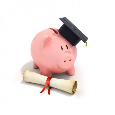 Piggy Bank with Black Graduation Hat and diploma tied with red r