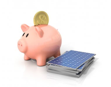 Concept of saving money if using solar energy. Solar panels near
