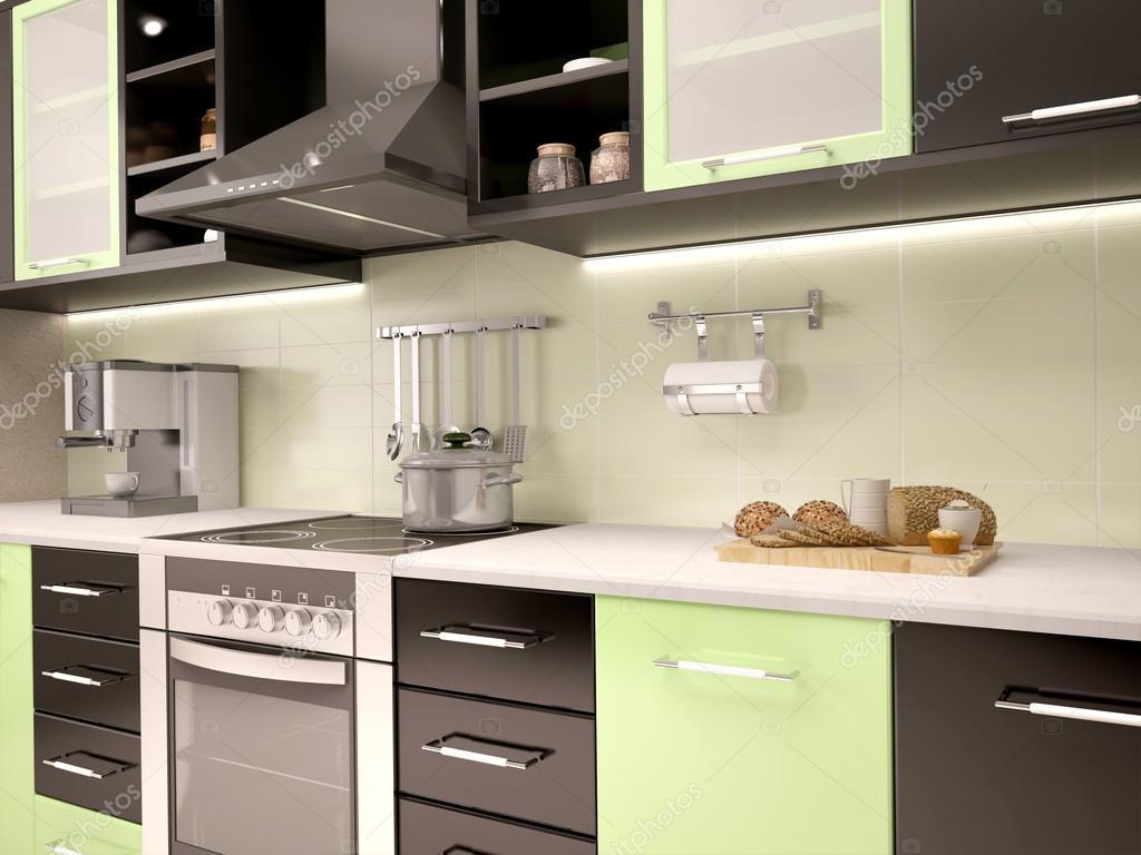 3d Ilustracja Nowoczesnej Kuchni Kuchnia W Col Czarny I