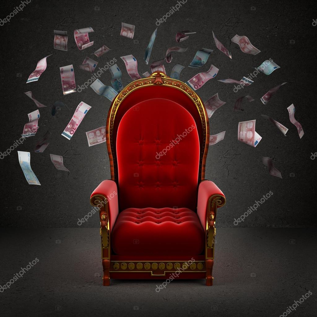 The Royal Throne In Room With Falling Euro Banknotes Stock Photo