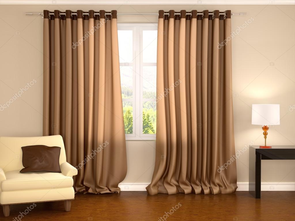 3D illustratie van bruine gordijnen in warme interieur — Stockfoto ...