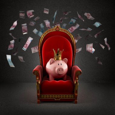 Moneybox pig in crown on the royal throne in the room with falli