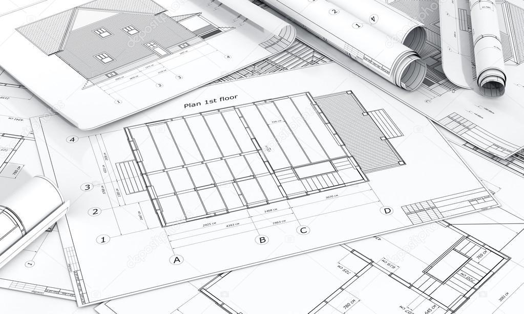 Architektur plan und rollen von blaupausen stockfoto - Architektur plan ...