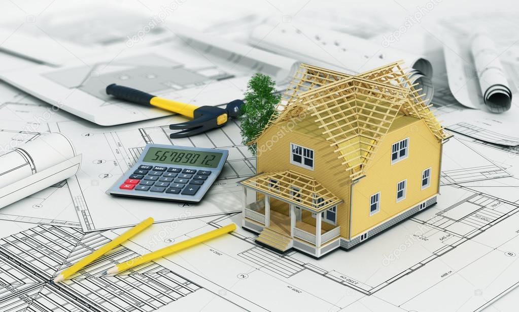 Concept van bouw en architect ontwerp 3d render van huis for Huis in 3d ontwerpen