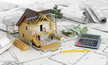 Concept of construction and architect design. 3d render of house