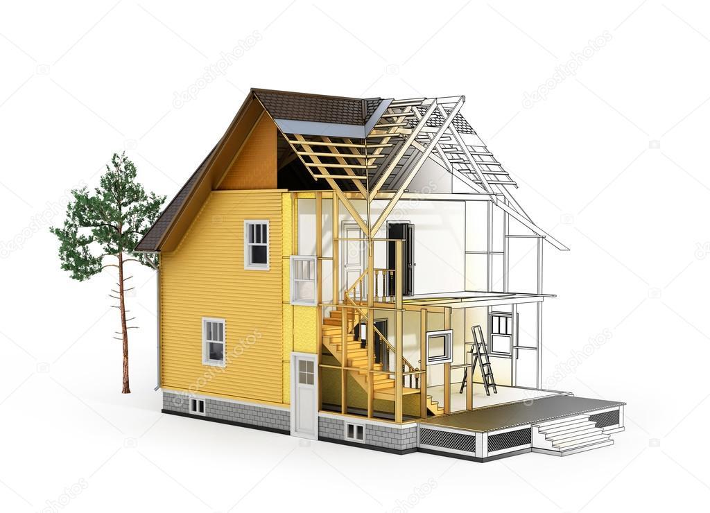 Concepto de dise o construcci n y arquitecto 3d render for Construccion y diseno de casas